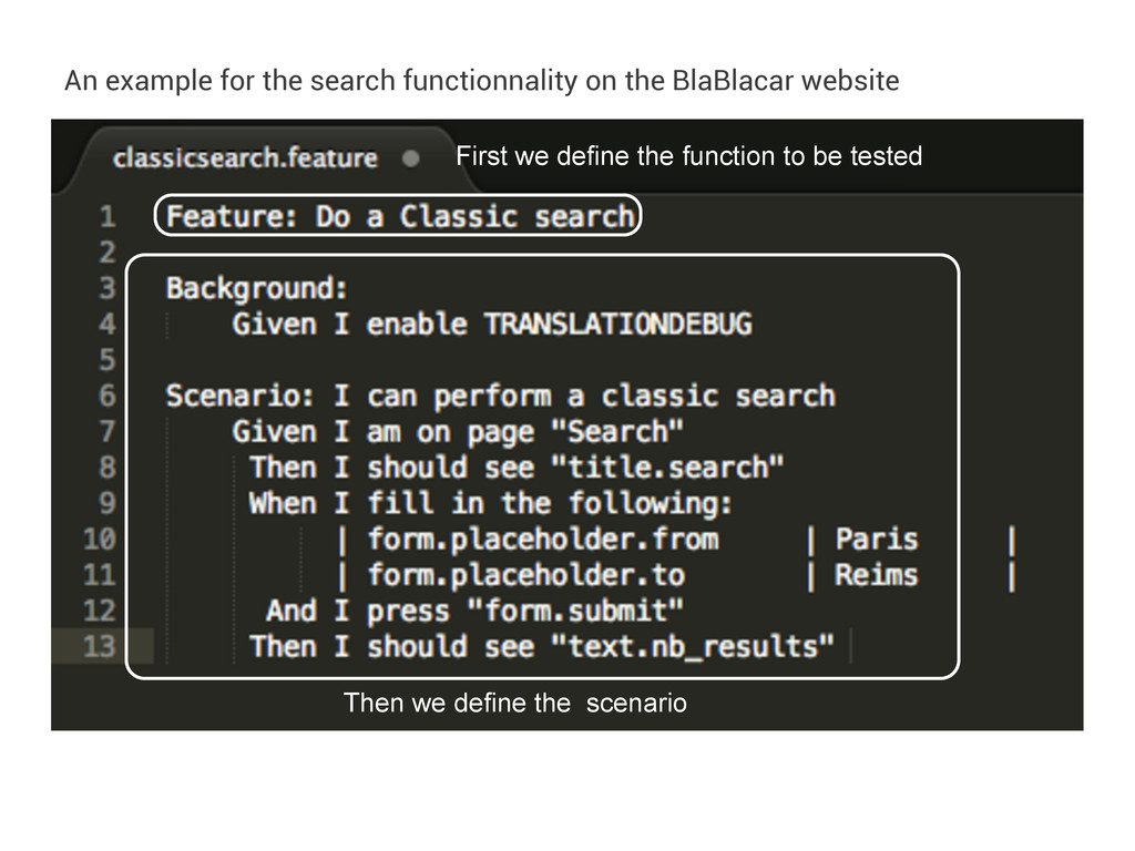An example for the search functionnality on the...