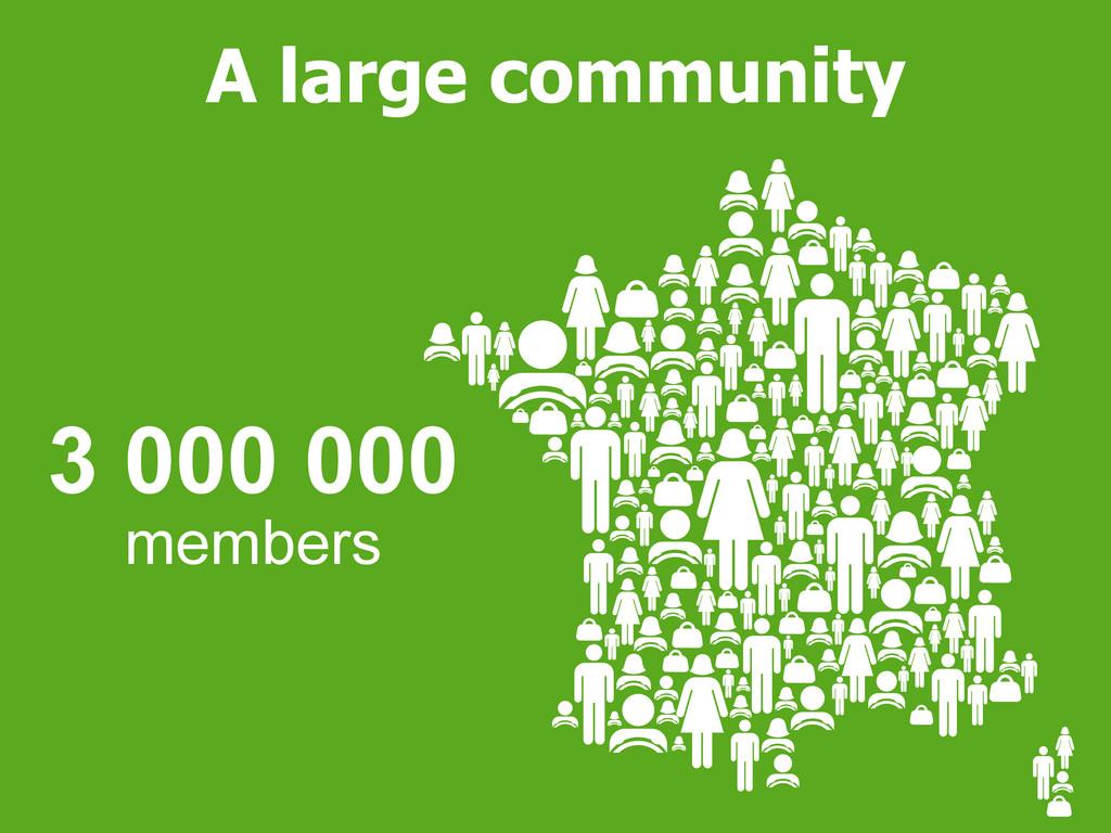 3 000 000 members A large community