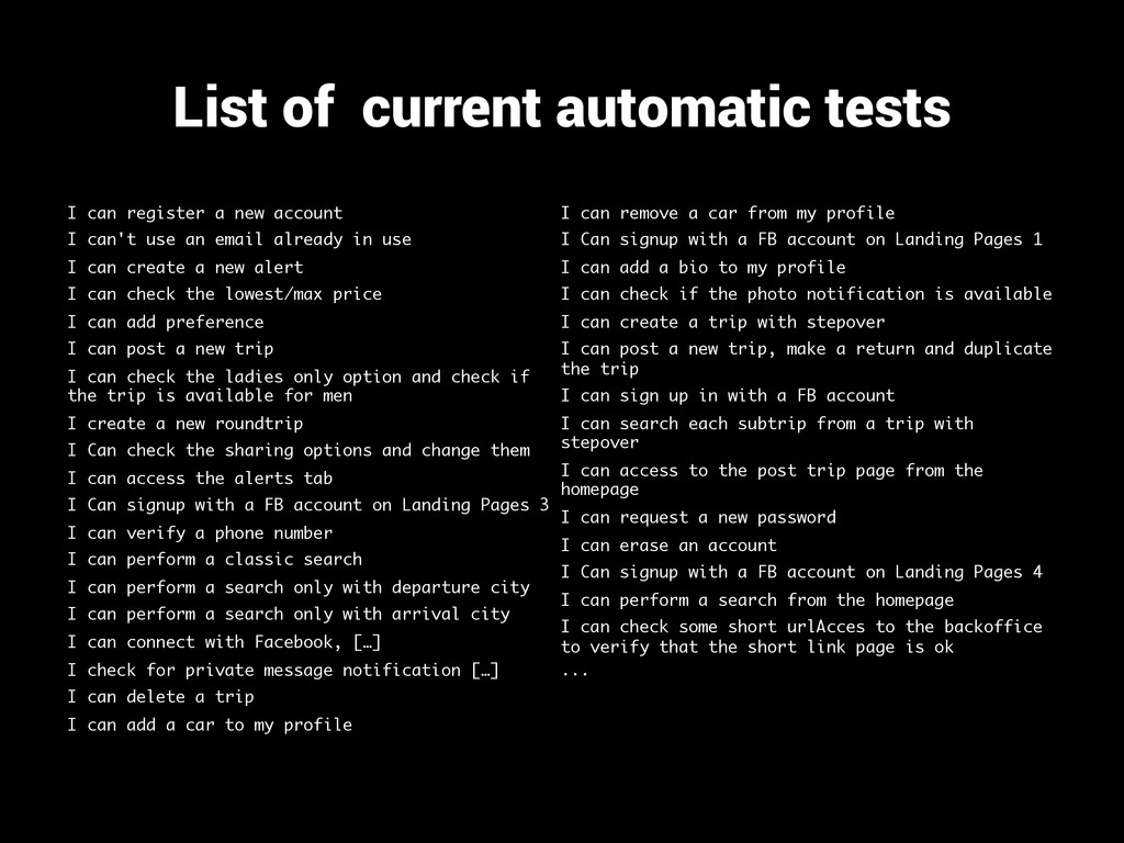 List of current automatic tests I can register ...