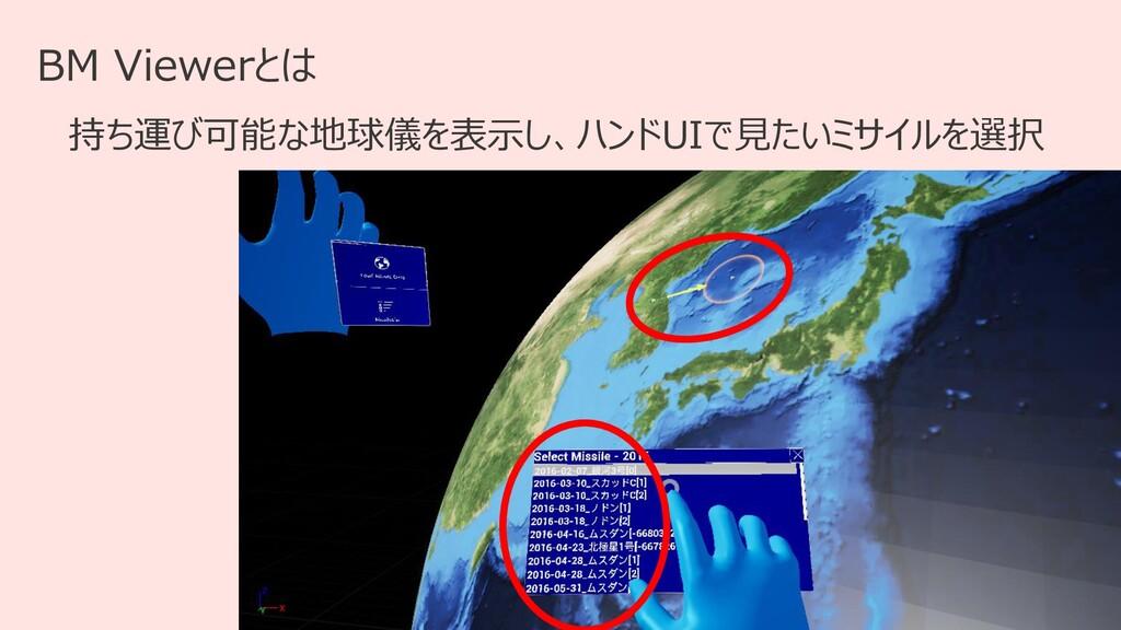 14 BM Viewerとは 持ち運び可能な地球儀を表示し、ハンドUIで見たいミサイルを選択