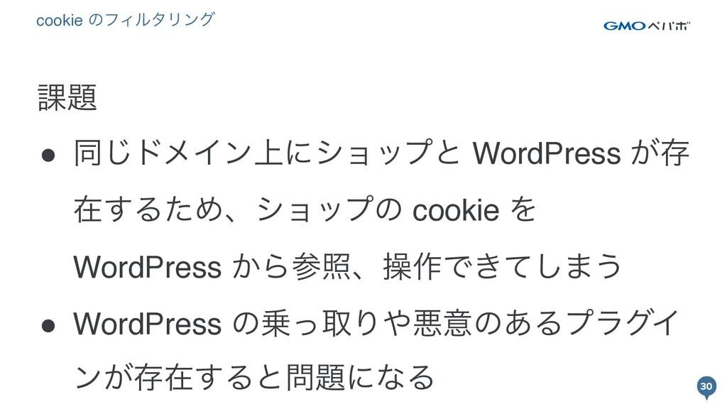 30 30 ՝ ● ಉ͡υϝΠϯ্ʹγϣοϓͱ WordPress ͕ଘ ࡏ͢ΔͨΊɺγϣο...