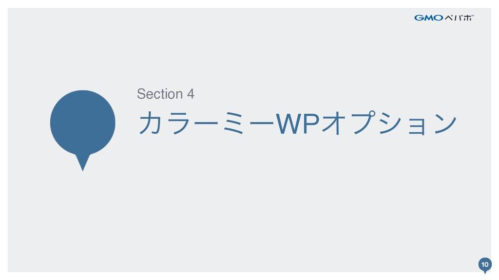 10 ΧϥʔϛʔWPΦϓγϣϯ Section 4 10