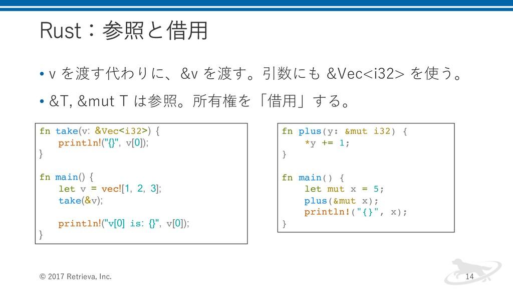 Rust:参照と借⽤ • v を渡す代わりに、&v を渡す。引数にも &Vec<i32> を使...