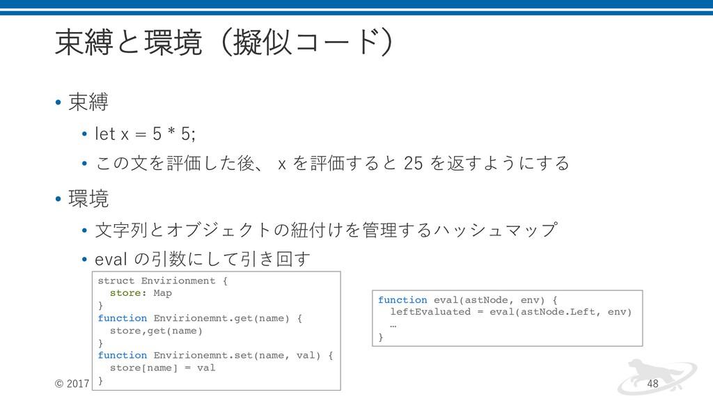 束縛と環境(擬似コード) • 束縛 • let x = 5 * 5; • この⽂を評価した後、...