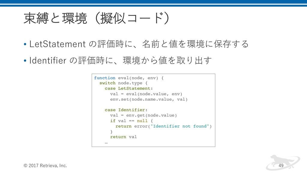 束縛と環境(擬似コード) • LetStatement の評価時に、名前と値を環境に保存する ...