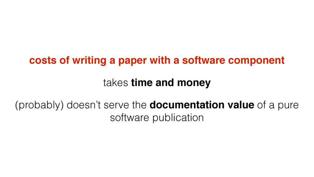 costs of writing a paper with a software compon...