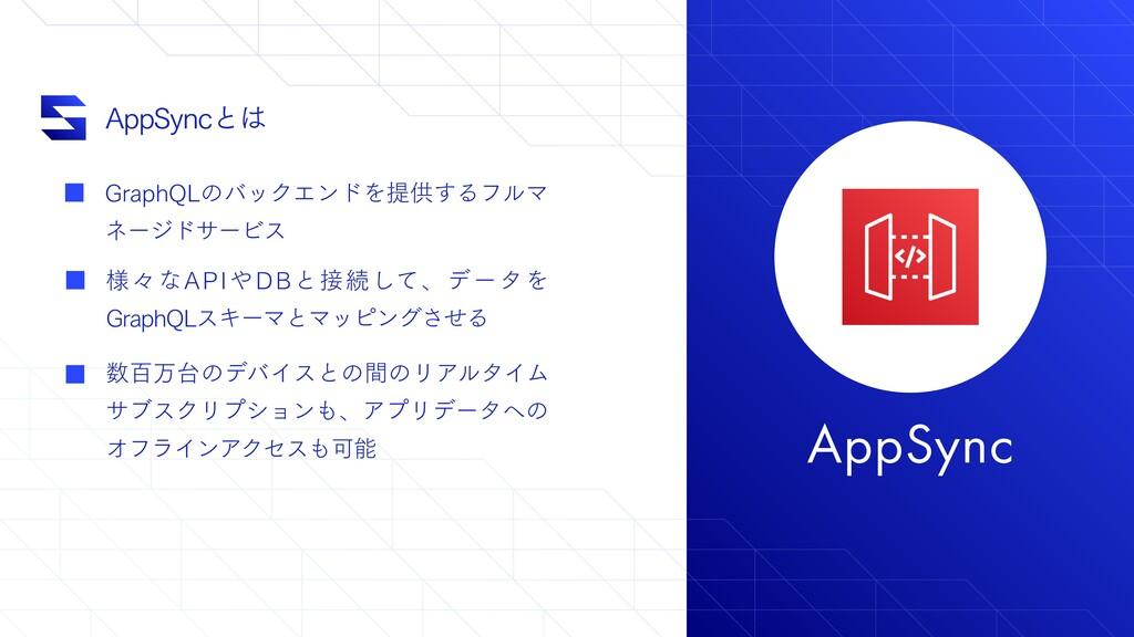 "AppSync ""QQ4ZODͱ (SBQI2-ͷόοΫΤϯυΛఏڙ͢ΔϑϧϚ ωʔδυαʔ..."
