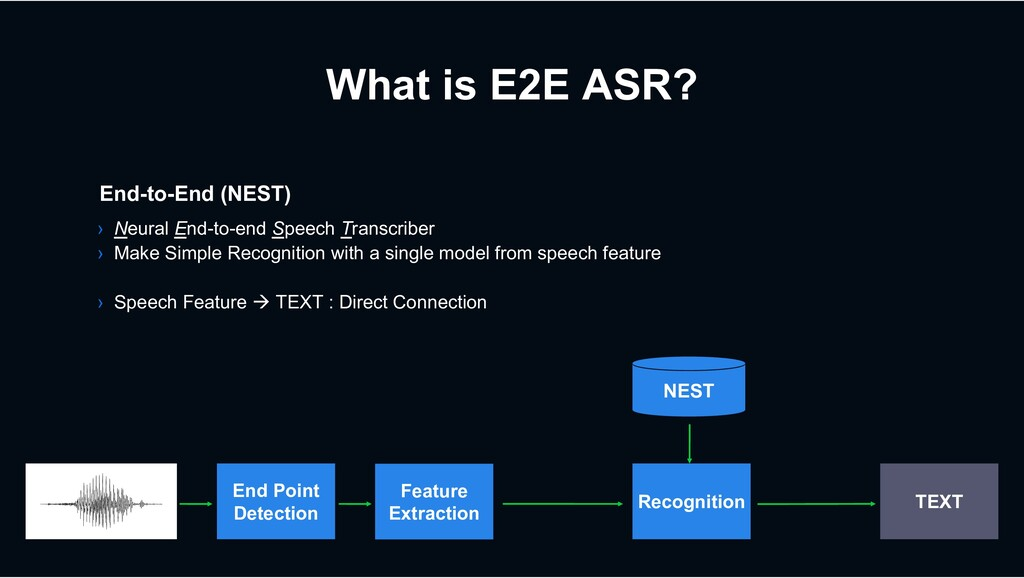 What is E2E ASR? End-to-End (NEST) › Neural End...