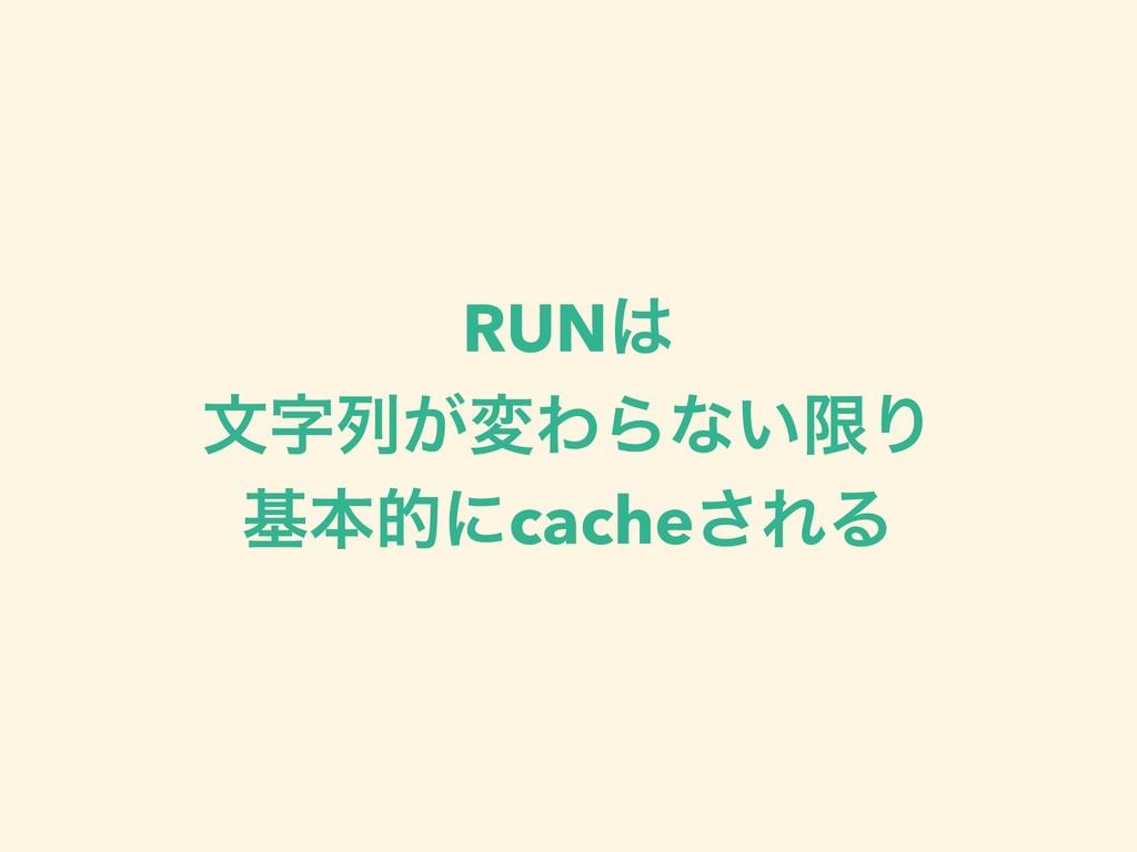 RUN จྻ͕มΘΒͳ͍ݶΓ جຊతʹcache͞ΕΔ