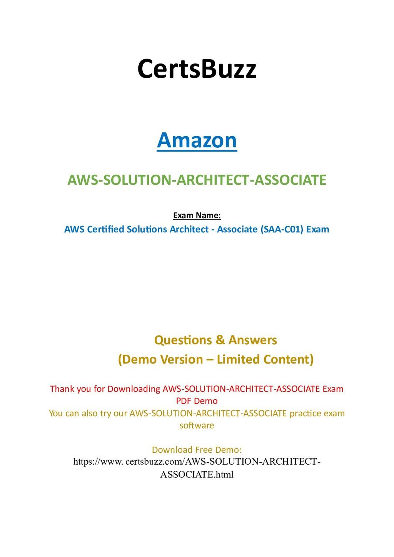 CertsBuzz Amazon AWS-SOLUTION-ARCHITECT-ASSOCIA...