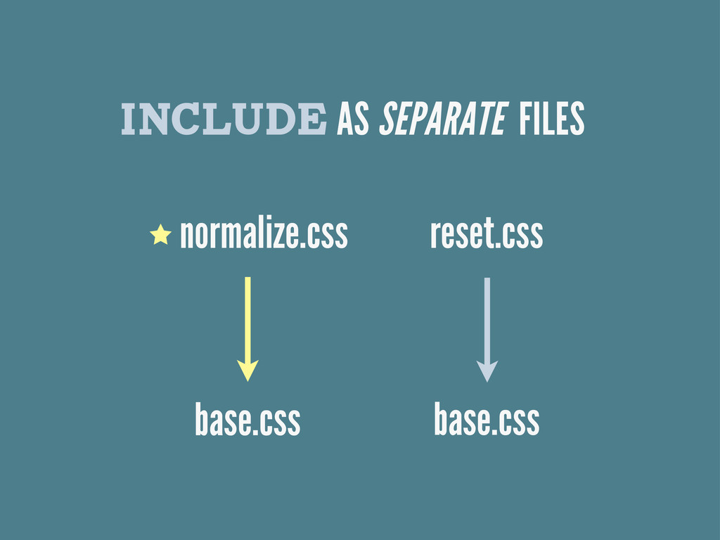 INCLUDE AS SEPARATE FILES normalize.css base.cs...