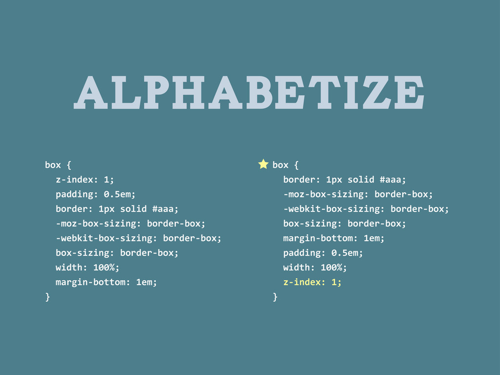 ALPHABETIZE box	