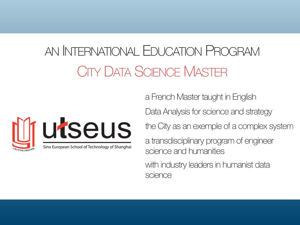 AN INTERNATIONAL EDUCATION PROGRAM CITY DATA SC...