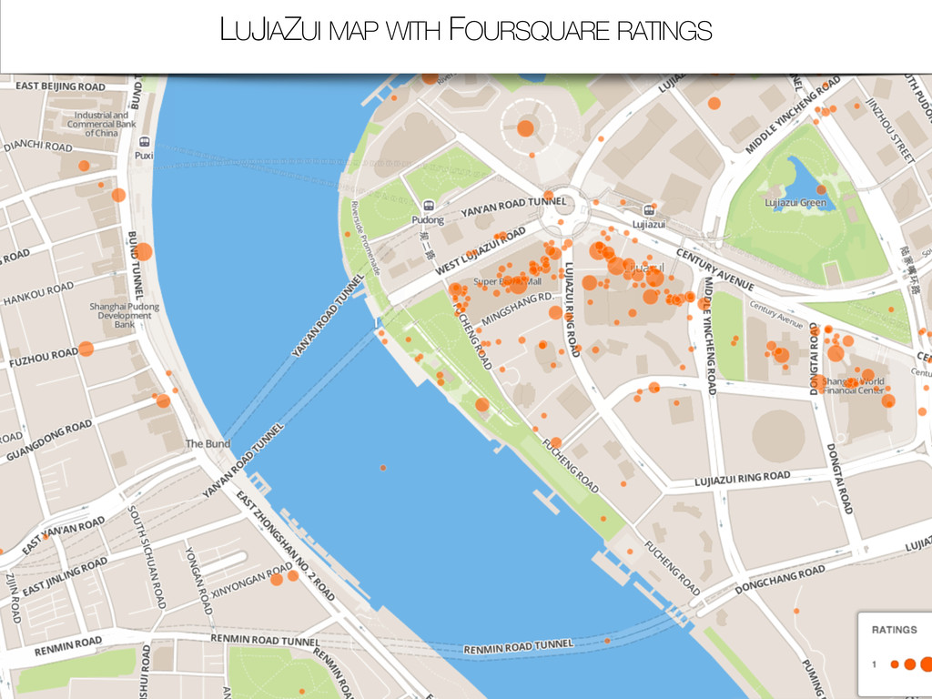 LUJIAZUI MAP WITH FOURSQUARE RATINGS