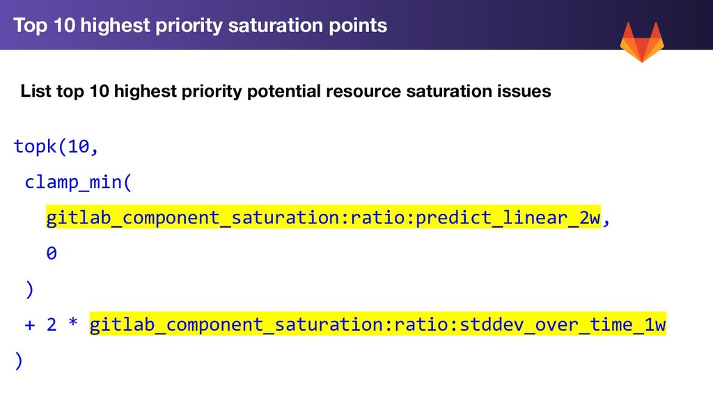 Top 10 highest priority saturation points topk(...