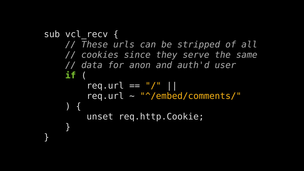 sub vcl_recv { // These urls can be stripped of...