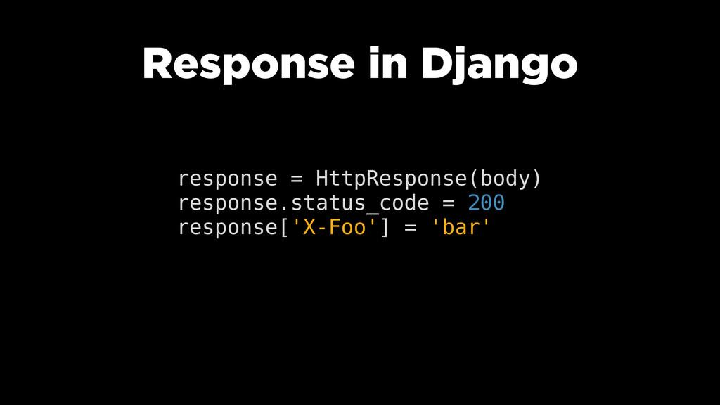 Response in Django response = HttpResponse(body...