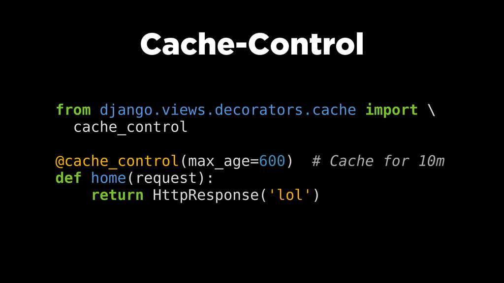 Cache-Control from django.views.decorators.cach...