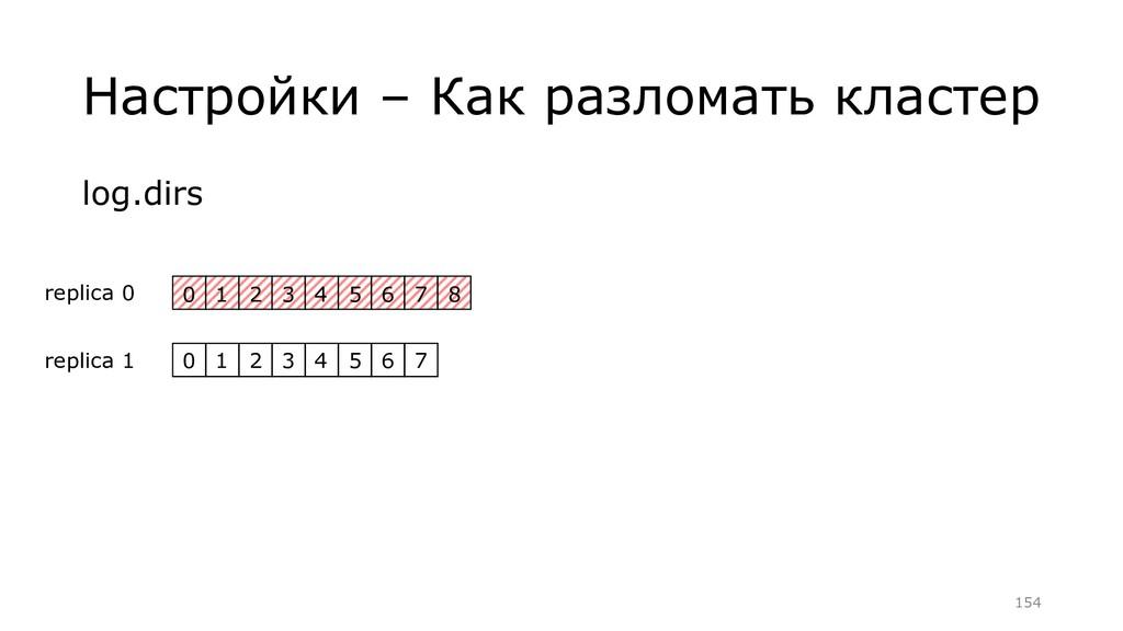 Настройки – Как разломать кластер log.dirs =154...