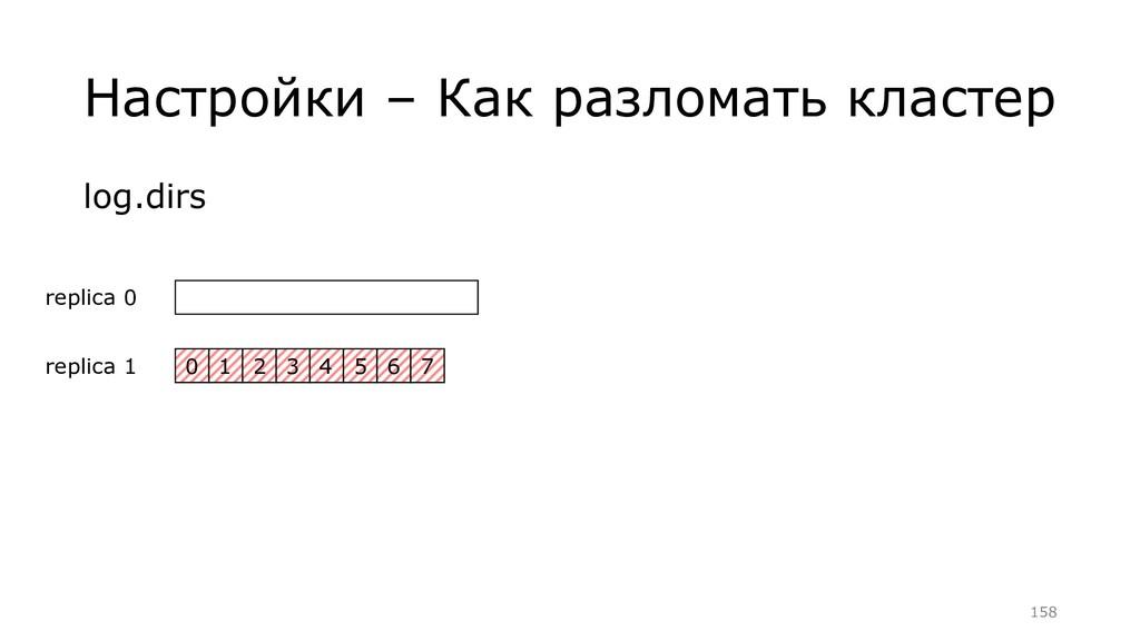 Настройки – Как разломать кластер log.dirs =158...