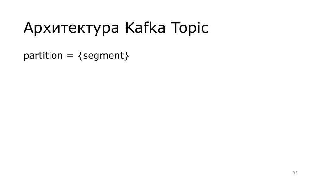 Архитектура Kafka Topic partition = {segment} =...