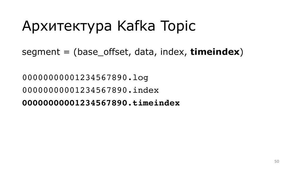 Архитектура Kafka Topic segment = (base_offset,...