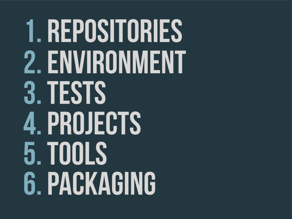 1. Repositories 2. Environment 4. Projects 3. T...