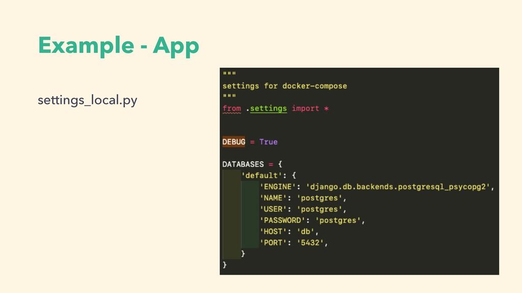 Example - App settings_local.py