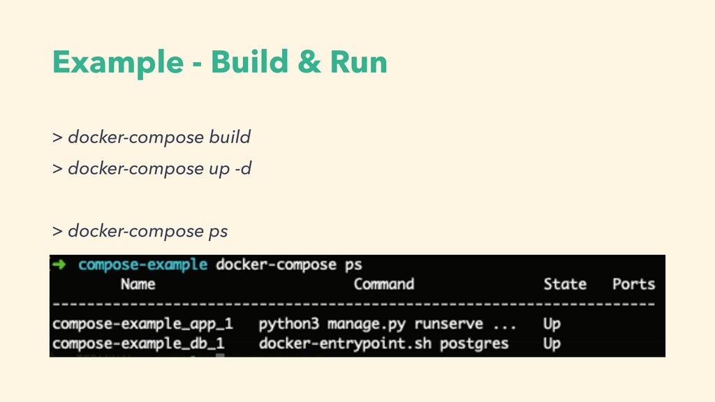Example - Build & Run > docker-compose build > ...