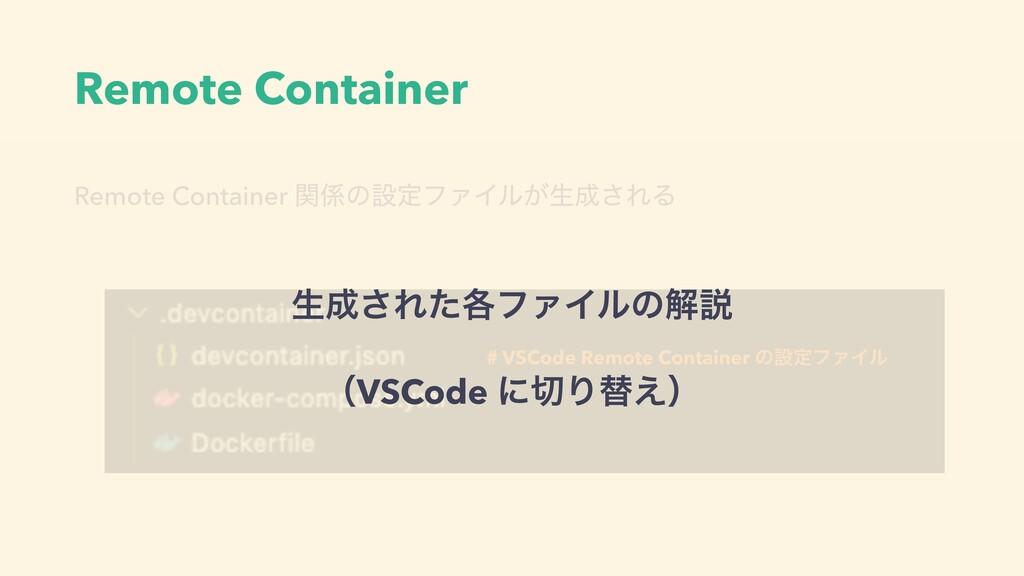Remote Container Remote Container ؔͷઃఆϑΝΠϧ͕ੜ͞...