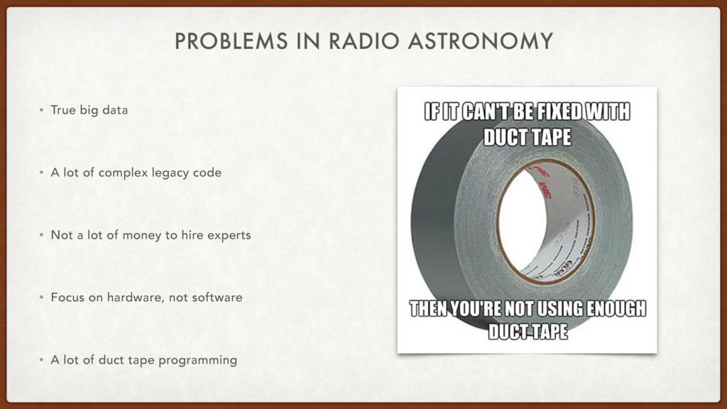 PROBLEMS IN RADIO ASTRONOMY • True big data • A...