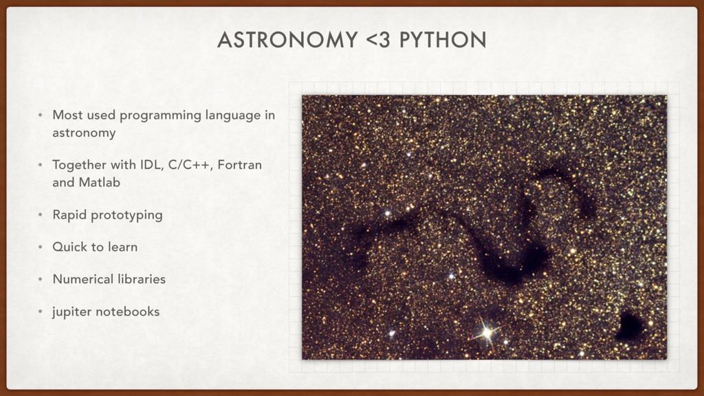 ASTRONOMY <3 PYTHON • Most used programming lan...