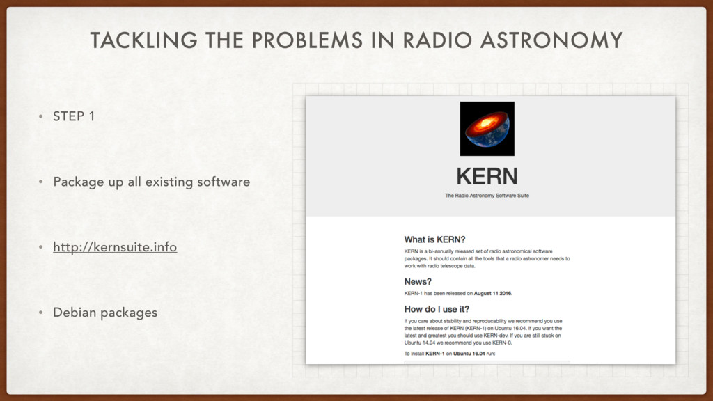TACKLING THE PROBLEMS IN RADIO ASTRONOMY • STEP...