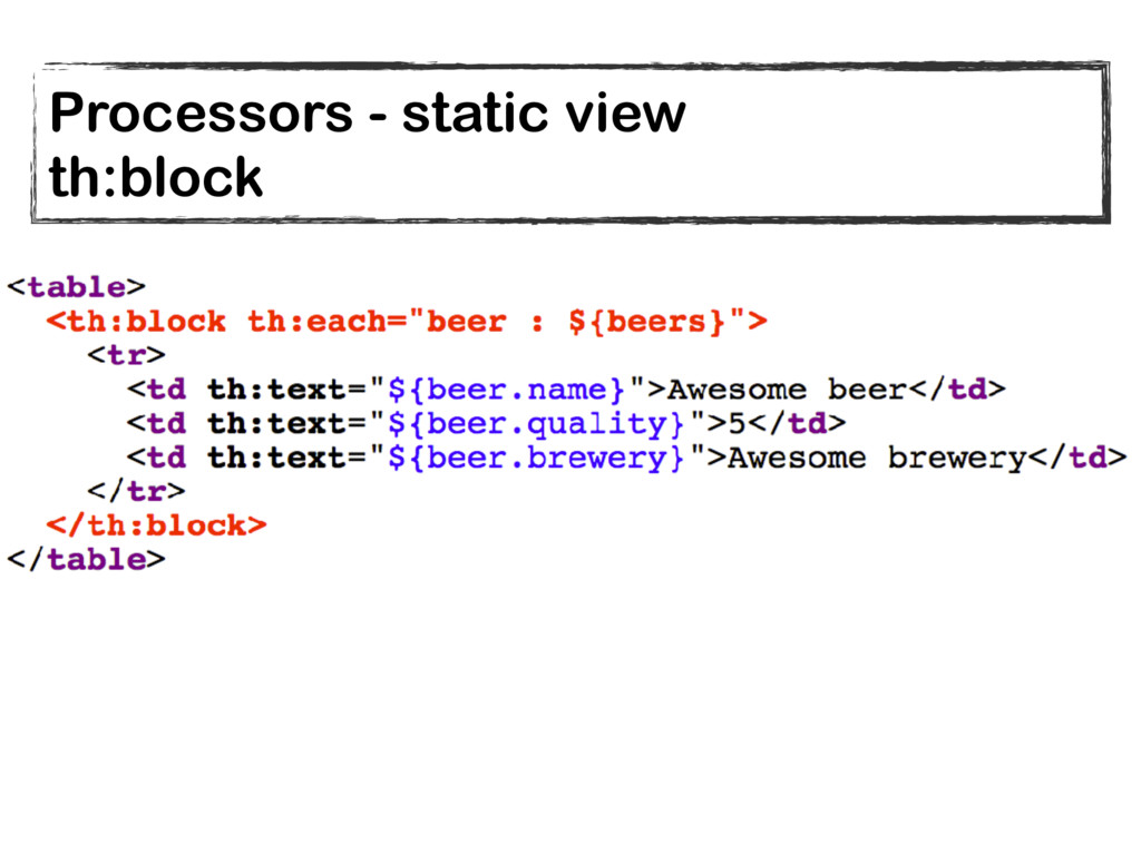 Processors - static view th:block