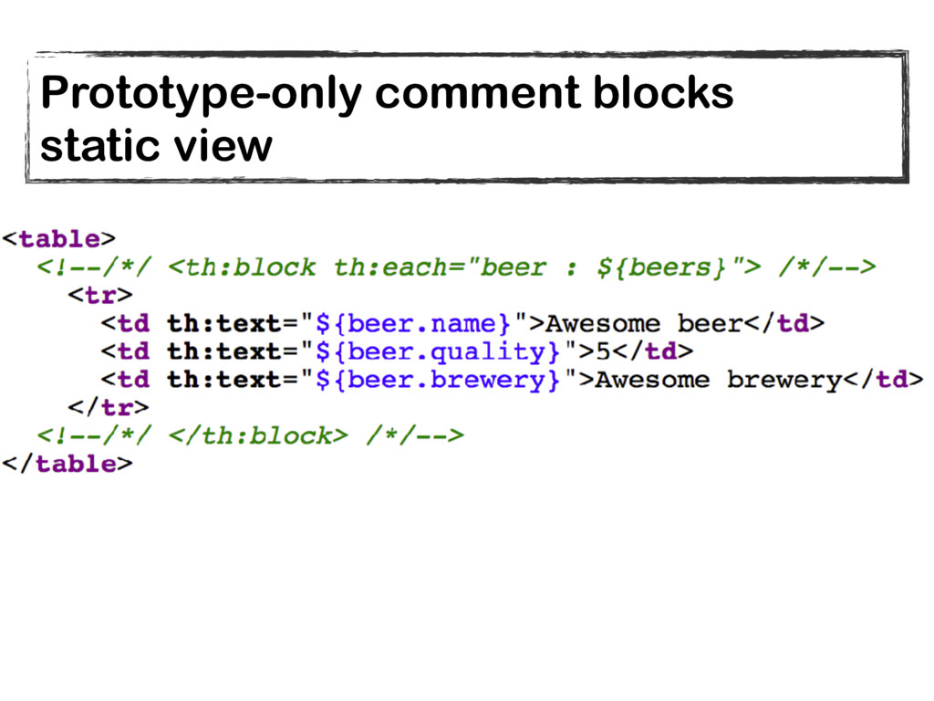 Prototype-only comment blocks static view