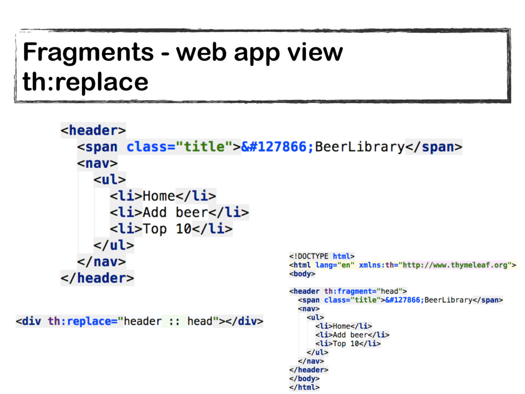 Fragments - web app view th:replace
