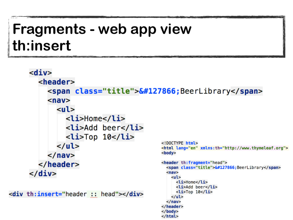 Fragments - web app view th:insert