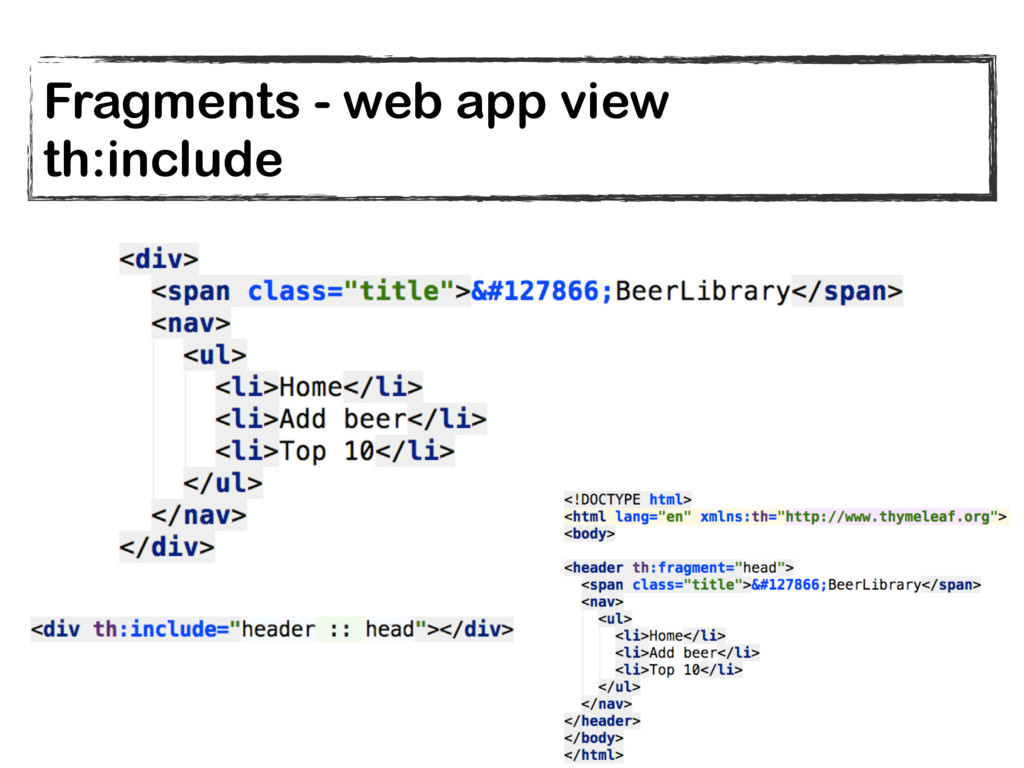 Fragments - web app view th:include