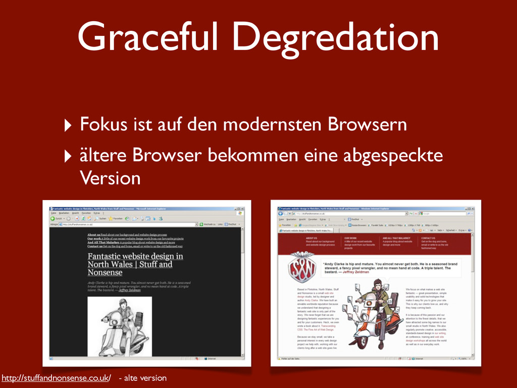 Graceful Degredation ‣ Fokus ist auf den modern...