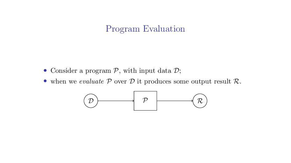 Program Evaluation • Consider a program P, with...