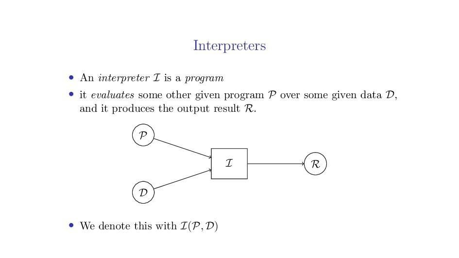 Interpreters • An interpreter I is a program • ...