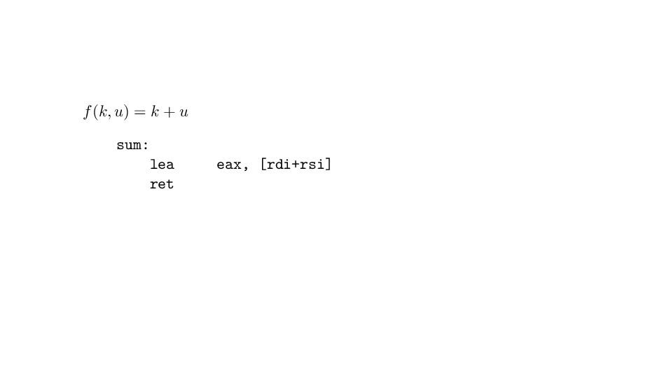 f(k, u) = k + u sum: lea eax, [rdi+rsi] ret