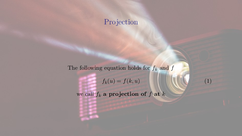 Projection Projection The following equation ho...