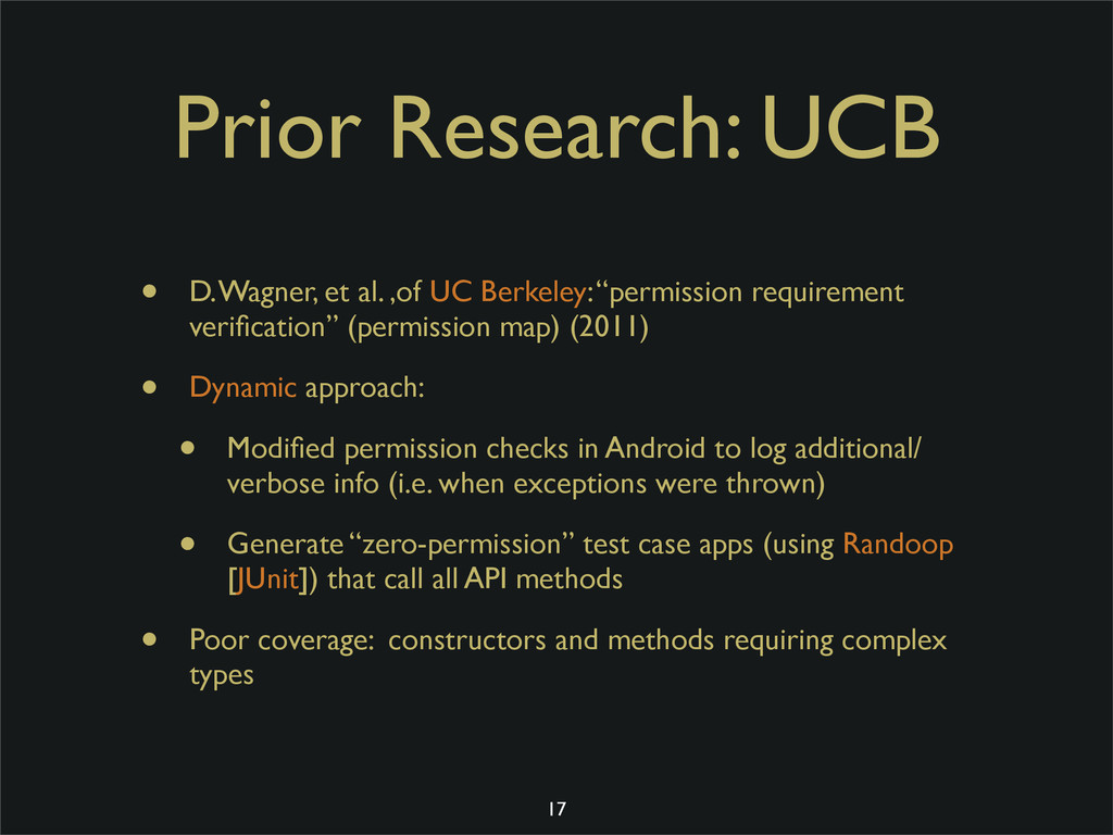 Prior Research: UCB • D. Wagner, et al. ,of UC ...