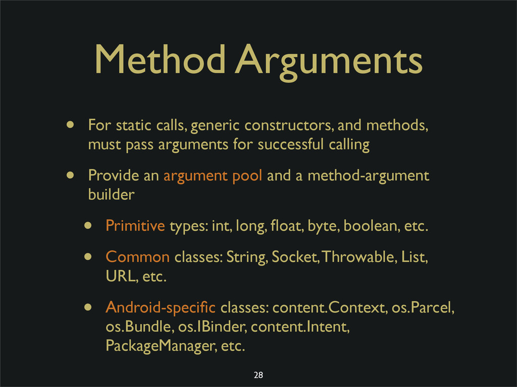 Method Arguments • For static calls, generic co...