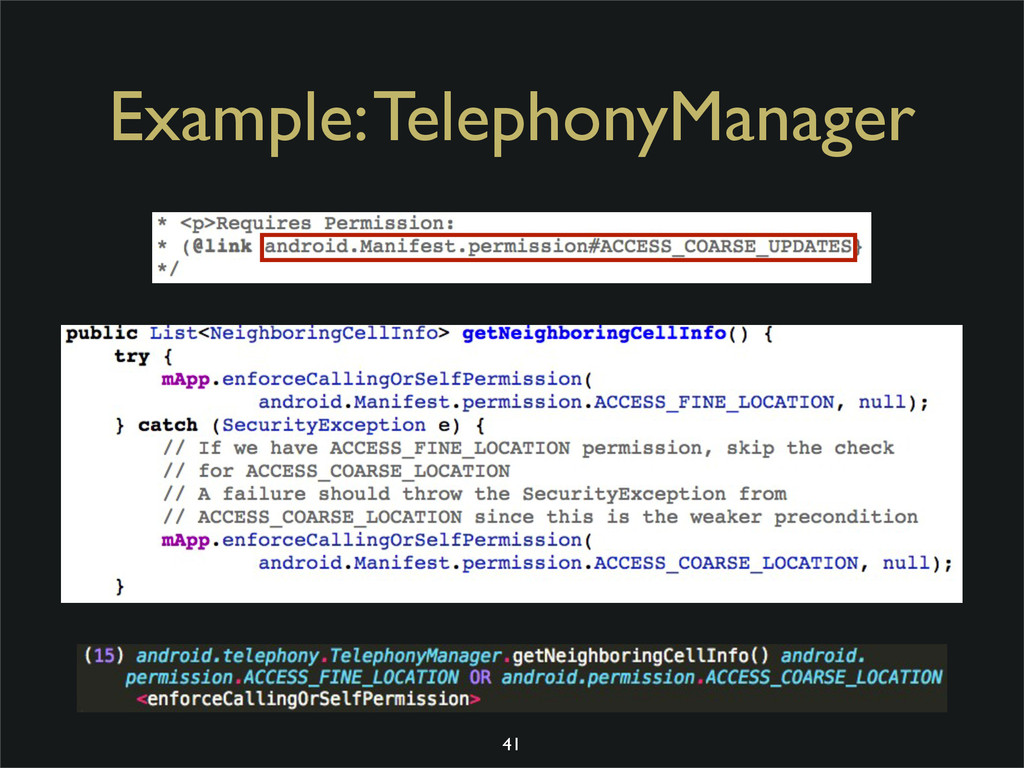 Example: TelephonyManager 41