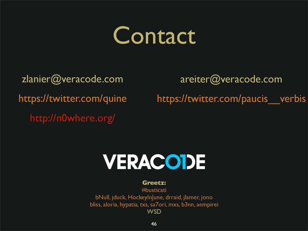 Contact zlanier@veracode.com https://twitter.co...