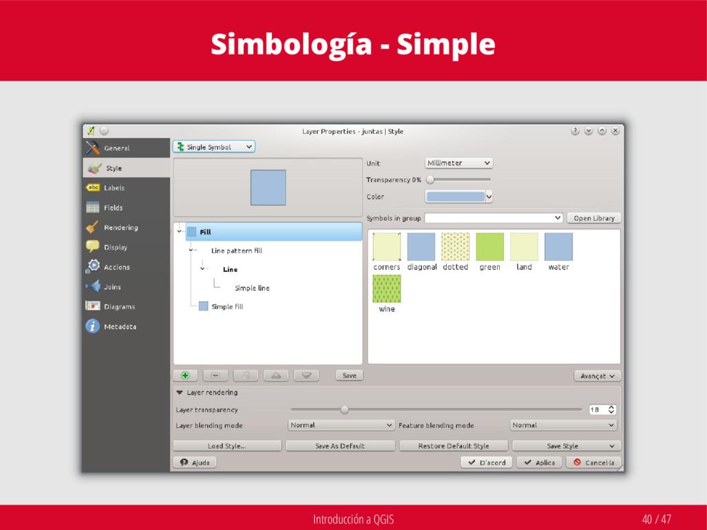 Introducción a QGIS 40 / 47 Simbología - Simple