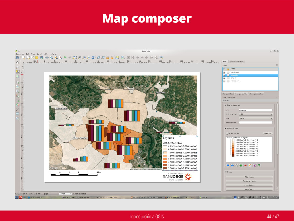 Introducción a QGIS 44 / 47 Map composer