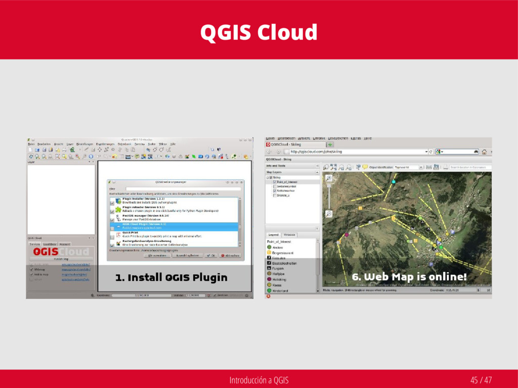 Introducción a QGIS 45 / 47 QGIS Cloud